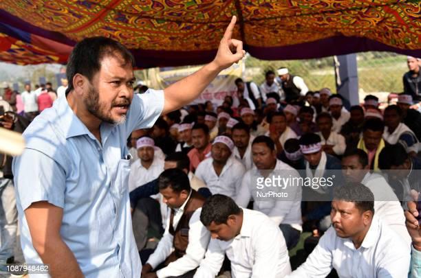Activists of All Assam Koch Rajbongshi Sanmilani Krishak Mukti Sangram Samiti leader Akhil gogoi stage a demonstration demanding ST status at Chachal...