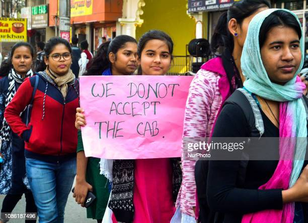 Activists of All Guwahati Students Fraternity taking out a march in protest against Citizenship Bill 2016 in Guwahati, Assam, India on Tuesday,...