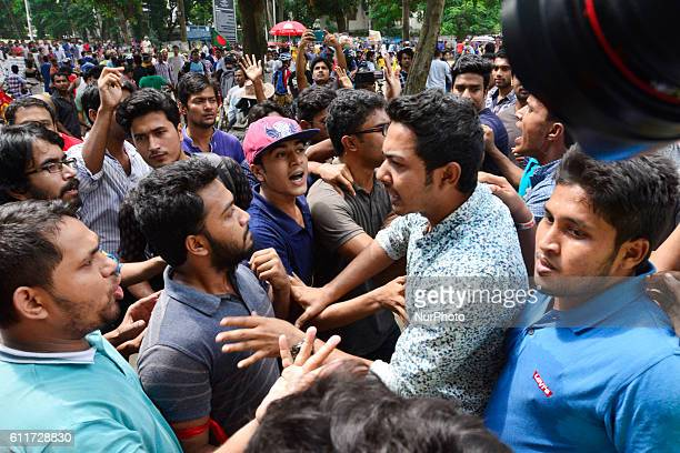 Activists of Bangladesh Chhatra League the student body of ruling Awami League take part a protest against Rampal power plant at the central Shaheed...