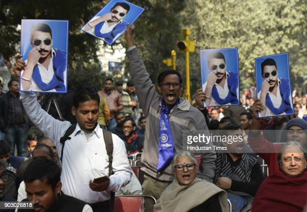 Activists of Bhim Army at Jantar Mantar during Hunkar Rally to release Bhim Army chief Chandrashekhar Azad Ravan on January 9 2018 in New Delhi India...