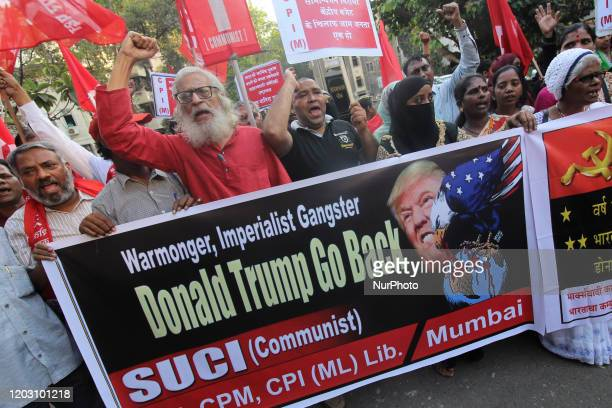Activists of Communist Party of India Marxist shout slogans during a protest against the US President Donald Trumps visit to India on February 25...