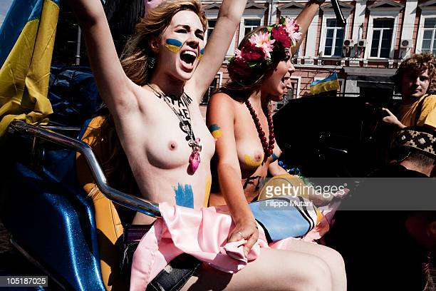 Activists of Femen Ukraine feminist movement in the day of Ukraine independence FEMEN is a social movement and provocative women's movement in...