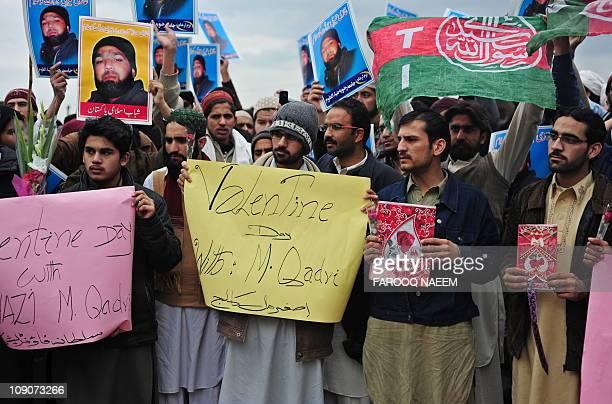 Activists of Islamist organisation Shabab-e-Islami Pakistan shout slogans outside the Adiyala prison in Rawalpindi on February 14 in the support of...