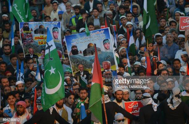 Activists of JamaateIslami Pakistan gather during an antiUS and antiIsrael protest rally in Karachi on December 17 following US President Donald...