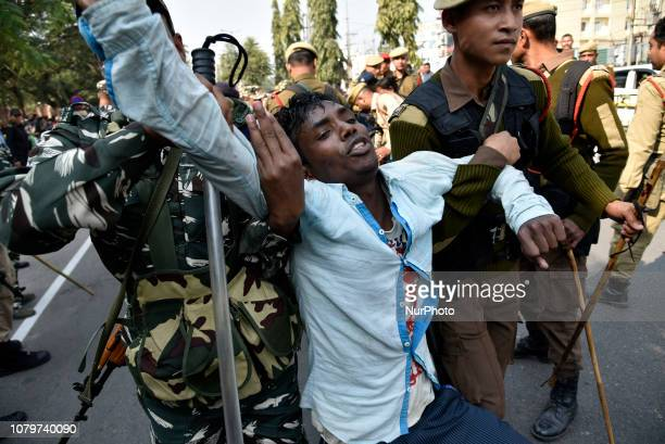 Activists of Krishak Mukti Sangram Samiti , Asom Jatiyatabadi Yuba Chatra Parishad and several other indigenous organizations staging protest infront...