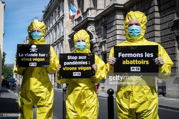 Activists of non-profit organization 'People for the Ethical Treatment of Animals' wearing hazmat suits and protective face masks rally in front of...