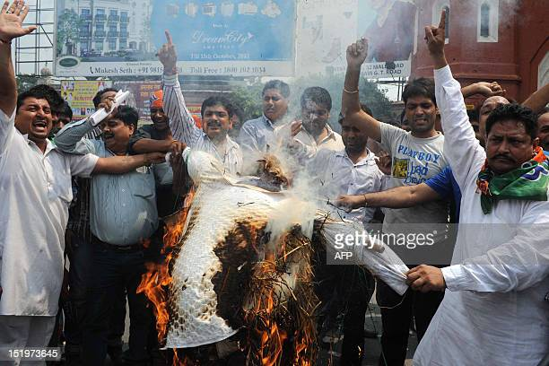 Activists of opposition Bharatiya Janata Party shout slogans as they burn an effigy of Indian Prime Minister Manmohan Singh and Congressled UPA...