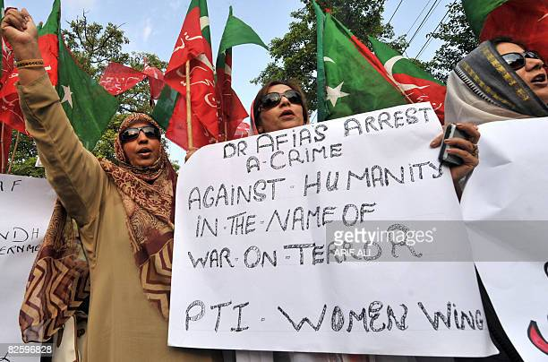 Activists of Pakistan Tahrik-e-Insaf protest in Lahore on August 29, 2008 for the release of US detained Pakistani woman Aafia Siddiqui. Global...