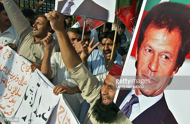 Activists of Pakistan TehreekeInsaf stage a protest against the military operation in the tribal area of North Waziristan 11 October 2007 Pakistan's...