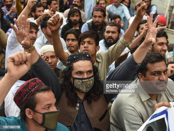 Activists of Pashtun Protection Movement protest against the arrest of their activists and leaders in Karachi on February 10 2019 The PTM has rattled...