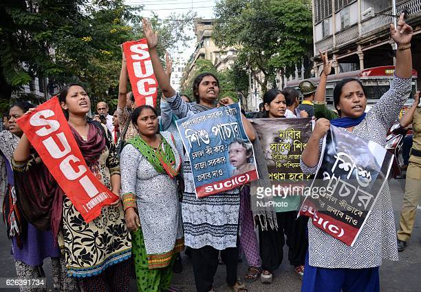 Activists of Socialist Unity Center of IndiaMarxist shouting slogans during the protest against child trafficking in West Bengal in Kolkata India on...