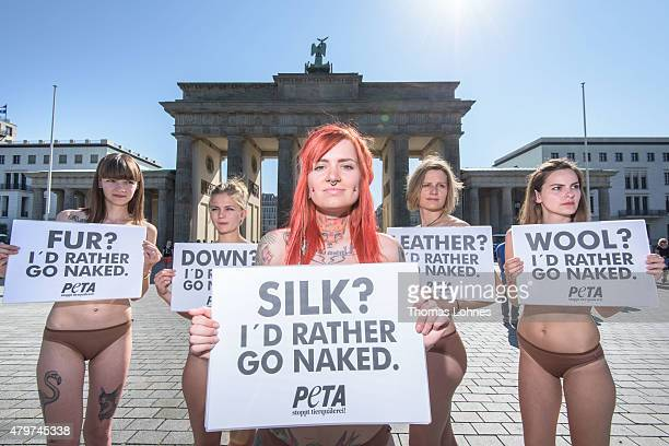 Activists of the animal rights organization PETA protest against animal suffering in the fashion industry ahead of the MercedesBenz Fashion Week...
