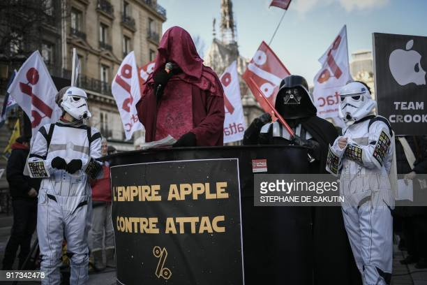Activists of the Association for the Taxation of Financial Transactions and Citizen's Action dressed as Star Wars characters take part in a protest...