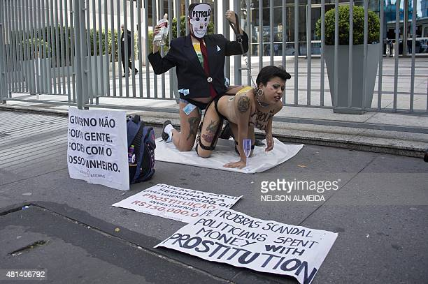 Activists of the Bastardxs women's rights movement perform against spending money diverted from the corruption scandal in the Brazilian stateowned...