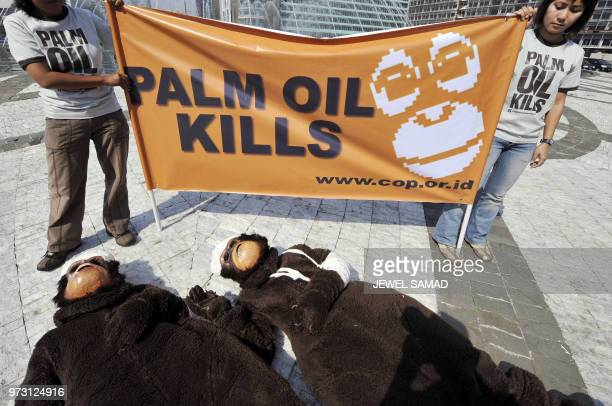 Activists of the Centre for Orangutan Protection dressed like an injured orangutans lay on the ground as others display a banner during a...