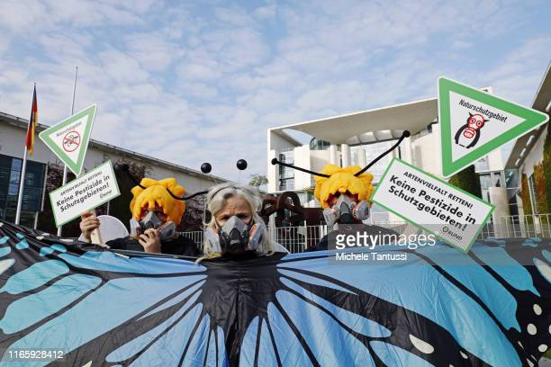 Activists of the environment NoGov Organisation Bund dressed as Butterfly and Bees protest with Placards reading no pesticides in protected areas in...