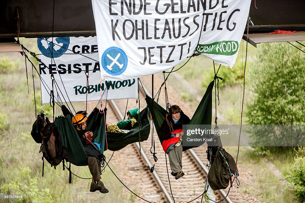 Activists Protest Coal Energy At Welzow Mine : News Photo