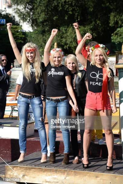 Activists of the feminist movement FEMEN are seen during the 70th Venice International Film Festival on September 3, 2013 in Venice, Italy.