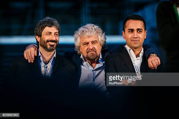 Activists of the Five Star Movement Beppe Grillo Luigi Di Maio Roberto Fico gather to invoke a NO vote to the upcoming constitutional referendum 26th...