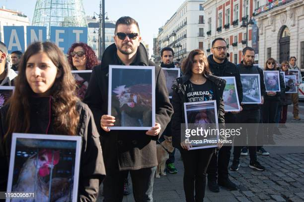 Activists of the international organization for Animal Equality are seen protesting in front Puerta del Sol in Madrid for the impact of the...