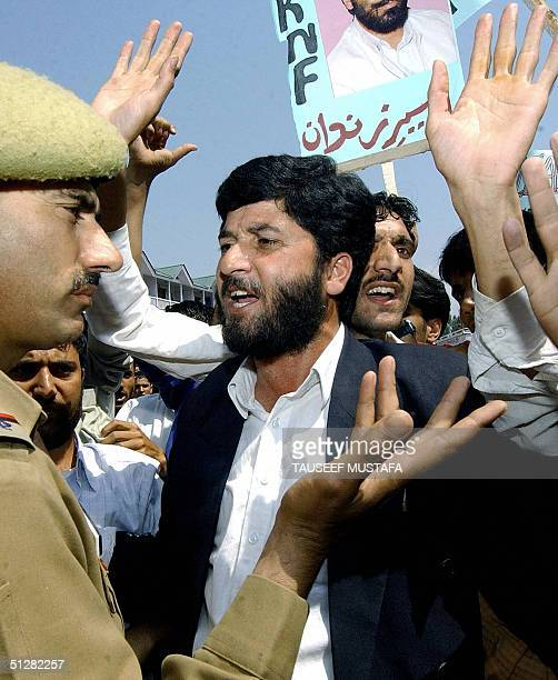 Activists of the Jammu and Kashmir National Front scuffle with Indian police while shouting antiIndian slogans to demand the release of separatist...