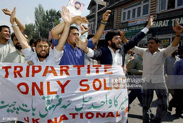 Activists of the Jammu and Kashmir National Front shout antiIndian slogans to demand the release of separatist leader Nayeem Khan during a...