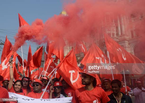 Activists of the Left front attend a mass meeting in a mega rally ahead of the 2019 Lok Sabha election in Kolkata India on Sunday 3rd February 2019...