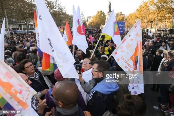 Activists of the Lesbian Gay Bisexual and Transgender gather against homophobia place de la République on October 21 2018 in Paris Guillaume Mélanie...