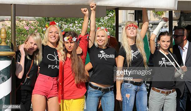 Activists of the movement FEMEN arrive at the Excelsior Hotel during the 70th Venice International Film Festival