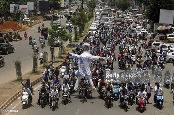 Activists of the National Students Union of India protest just before the residence of Chief Minister of the eastern Indian state Odisha Naveen...