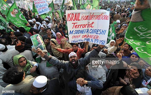 Activists of the Pakistan Muslim LeagueNawaz shout slogans during an antiIsrael protest rally in Lahore on January 12 2009 Thousands of Pakistanis...