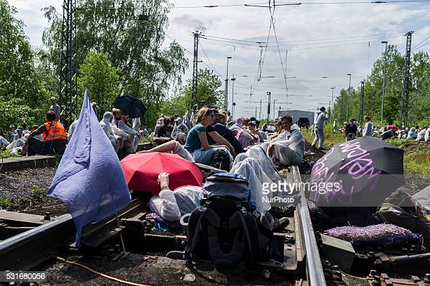 Activists of the protest association 'Ende Gelaende' occupy the train tracks towards the Schwarze Pumpe or Black Pump power station in Spremberg...