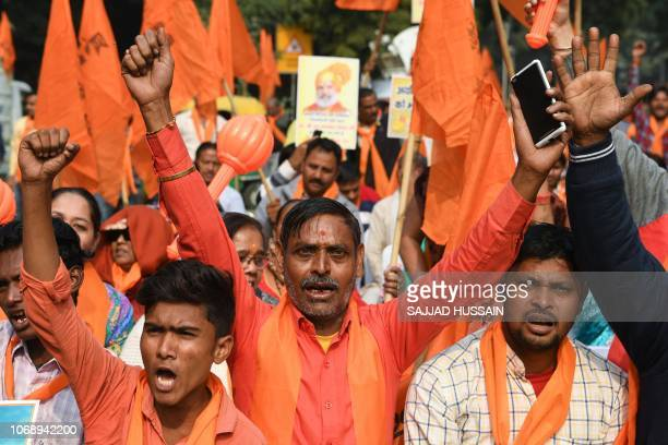 Activists of the rightwing United Hindu Front shout slogans during a demonstration calling for the construction of a temple on the site of the...