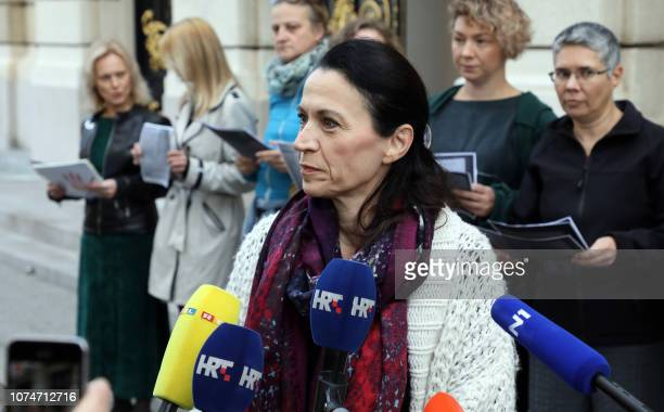 Activists of the Roda women's association gathered outside Croatia's Parliament building in Zagreb on October 19 2018 as part of the #Let's Stop the...