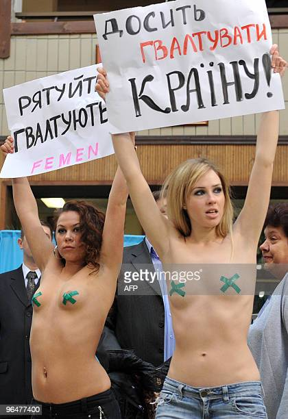 Activists of the Ukrainian women's movement FEMEN stage a protest prior to the Ukrainian opposition leader presidential candidate Viktor Yanukovich...