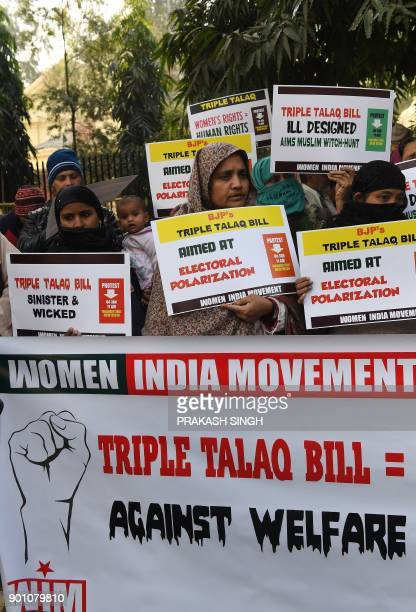 Activists of Women India Movement shout slogans against proposed 'Triple Talaq Bill' during a protest in New Delhi on January 4 2018 The Indian...