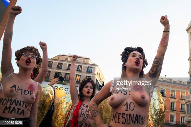 Image contains nudity Activists of women's rights organisation Femen protest in Madrid on February 14 2020 during an action to denounce violence...