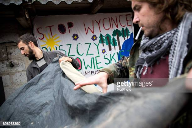 Activists packs up a tent quotCamp for Forestquot Pogorzelce near Bialowieza on September 21 2017