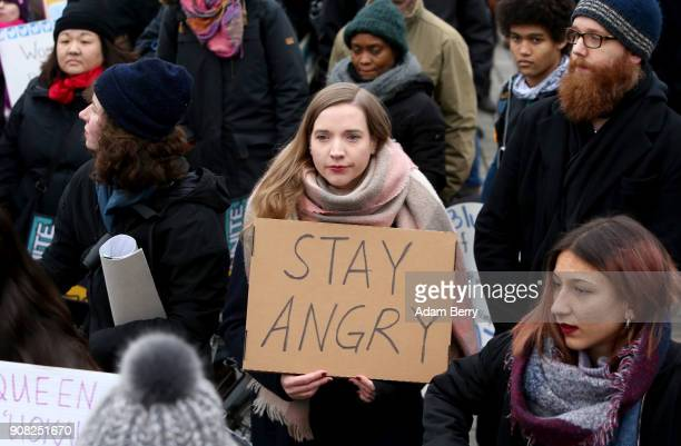 Activists participate in a demonstration for women's rights on January 21 2018 in Berlin Germany The 2018 Women's March is a planned rally and...
