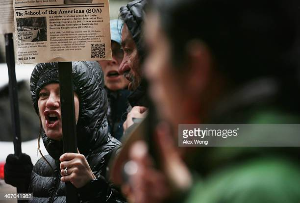 Activists participate in a rally to protest the Mexican governments handling of the Ayotzinapa 43 incidence outside the InterAmerican Commission of...