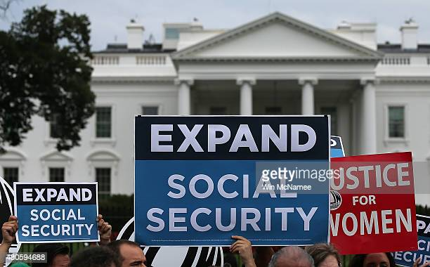 Activists participate in a rally urging the expansion of Social Security benefits in front of the White House July 13, 2015 in Washington, DC. Social...