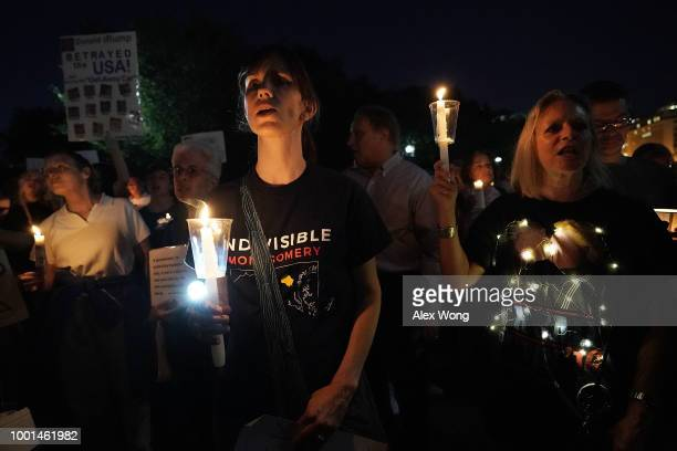 S Sen Sheldon Whitehouse speaks during a vigil in front of the White House July 18 2018 in Washington DC Public Citizen held a candlelight vigil to...