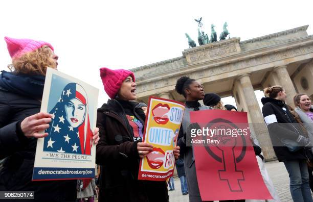 Activists participate in front of the Brandenburg Gate in a demonstration for women's rights on January 21 2018 in Berlin Germany The 2018 Women's...