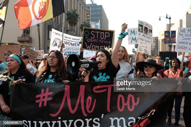 Activists participate in the 2018 #MeToo March on November 10, 2018 in Hollywood, California.