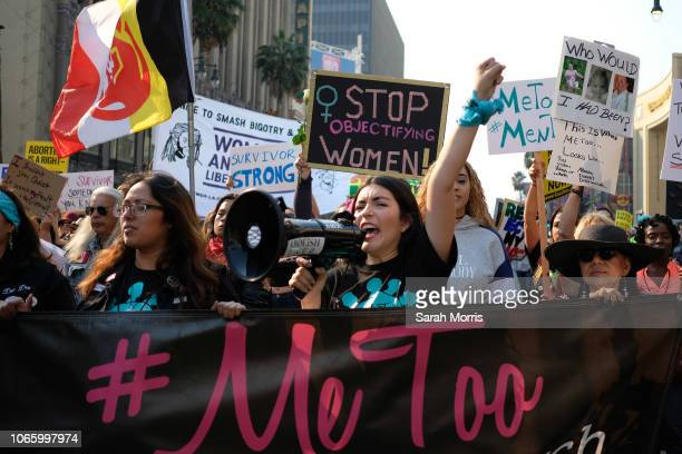 Activists participate in the 2018 #MeToo March on November 10 2018 in Hollywood California