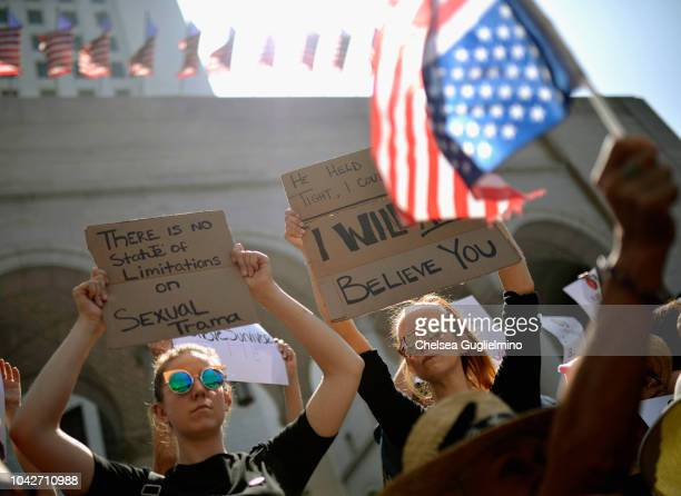 Activists participate in the 'Believe Survivors STOP Kavanaugh' rally hosted by TIME'S UP Partners at Los Angeles City Hall on September 28 2018 in...