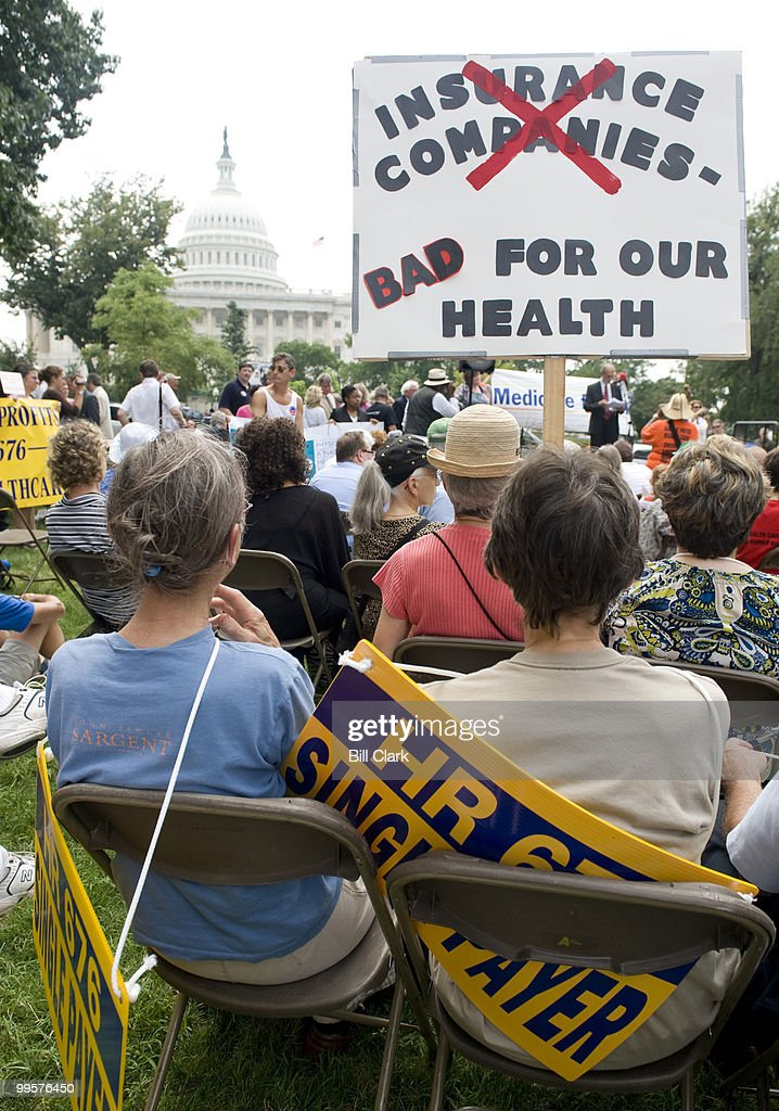 Activists participate in the Leadership Conference for Guaranteed Healthcare rally in Upper Senate Park on Thursday, July 30, 2009.