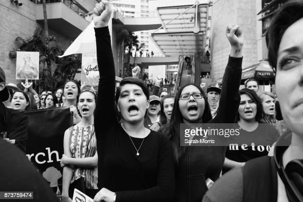 Activists participate in the Take Back The Workplace March and #MeToo Survivors March Rally on November 12 2017 in Hollywood California