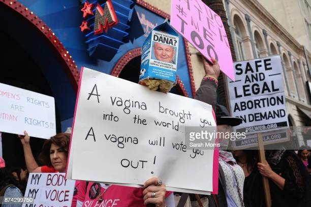 Activists participate in the Take Back The Workplace March and #MeToo Survivors March Rally on November 12 2017 in Beverly Hills California