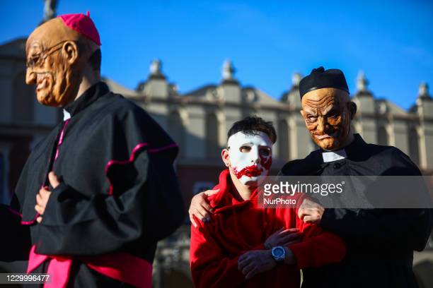 Activists perform in a happening against the members of Polish catholic church hierarchy who had been covering up sex scandals. Krakow, Poland on...